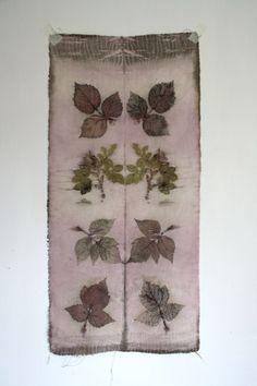 print from leaves on silk (natural, no paint)