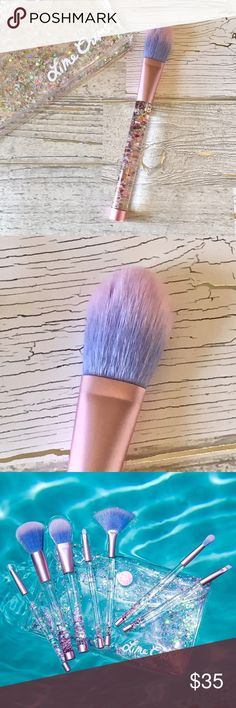 Lime Crime 💜 Aquarium Glitter Blush Brush Brand New, Never Used  Liquid glitter handles sparkle and move with you as you work your makeup magic!   Color Pink/Purple/Iridescent   1 - Blush Brush ONLY    All other brushes and glitter pouch NOT included. Lime Crime Makeup Brushes & Tools