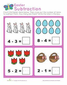 Worksheets: Easter Subtraction Practice