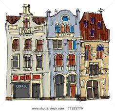 sketch, buildings, hand-drawn
