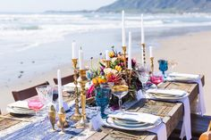 Intimate Beach Elopement  Styled Shoot by Smith and Murphy Events and Design House.Leanna Dunnunziato Photography. Furniture rentals by Sweet Beginnings Vintage Rentals. See more @intimateweddings.com #receptiontable #elopementshoot #beachelopement