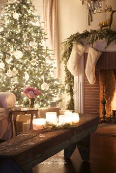 French Country Cottage Christmas Home Evening