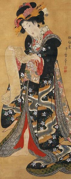 Reading a letter. Main detail of a hanging scroll; ink and color on silk, 1810-18 , Japan, by artist Kitagawa Utamara II. MFA (William Sturgis Bigelow Collection)