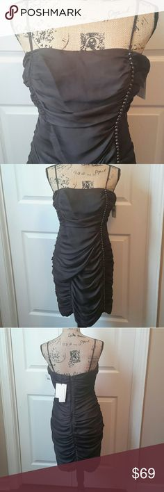 Edgy Ultra Modern MM Couture Ruched Bodycon Dress Ruched dress with silver studded sequins up one side Hugs your curves! NWT Measurements in photos Adjustable spaghetti straps Back zip Color: Charcoal Black MM Couture Dresses