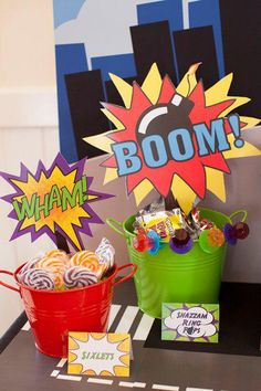 Colorful and exciting for a superhero party. I love the sound effect words with the shapes and colors it is on; goes with the super hero theme!