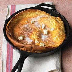 Dutch Baby Pancake:  This puffy baked treat is a breeze to make because you whirl the batter together in the blender. Once out of the oven, the pancake collapses quickly, so have your forks ready.