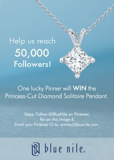 #WIN this stunning Princess-Cut Diamond Solitaire Pendant from #BlueNile. Follow @Blue Nile.. directions to enter on the pin.