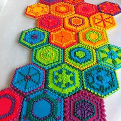 Beautifully detailed Rainbow hexagon cookies inspired by crocheted afghans { by Whipped Bakeshop}
