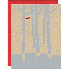 Cardinal Winter Trees A2 Holiday Cards