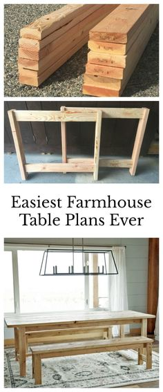 Meet the easiest rustic dining table that you can build yourself. With  these farm table dfda9b055210
