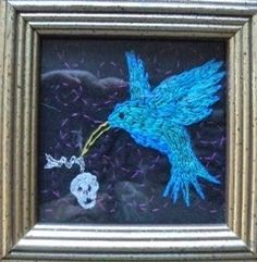 """Chloe and the Hummer - by artist Mavis Leahy - Embroidery on linen, 4.5"""" x 4.5"""" - SOLD"""