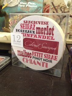 The Little Apple - Graphic Red Wine Coaster Set, $10