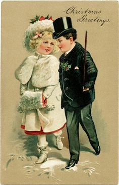 Old-Fashioned Christmas Clip Art | victorian children clipart, vintage christmas postcard, old fashioned ...