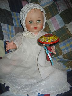 Constance Bannister with old vintage toy