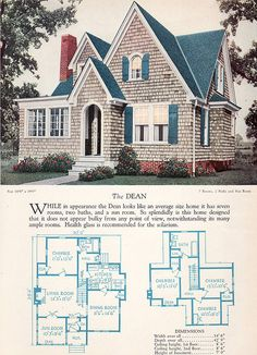 Modern English Style House Plan - The Dean - 1928 Home Builders Catalog -such a cute cottage Small House Plans, House Floor Plans, Cottage Floor Plans, Bungalow House Plans, Style At Home, English Style, Modern English, Casas The Sims 4, Vintage House Plans