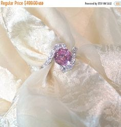 SALE 20% OFF Pink Sapphire Bypass Engagement Ring in White Gold and Sterling Silver With White Topaz