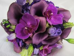 Bridal bouquet of phalaenopsis orchids, lisianthus, freesia and callas,  Preyah+Jon's wedding; design by Davis Floral Creations