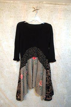 Frauen- / teens / Top Handarbeit mit recycelten Pullover vermisst. Sie lieben die Art und Weise sieht dieses Shirt!! Drapiert, so dass es Spaß und