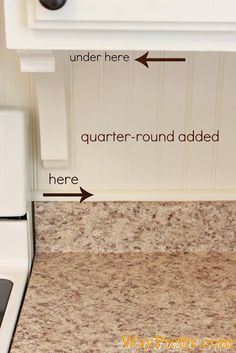 Quarter-round makes a nice finish when you have existing backsplash and want to do beadboard...could do this in master bath.