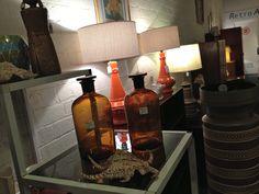 vintage lamps,beautiful shells & glass bottles