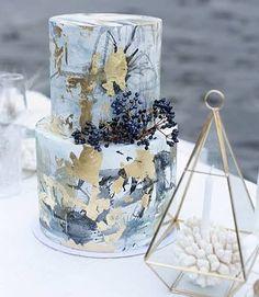 Cake goals with blues and golds! Geo gorgeousness #cakes #weddingcake #blueandgold #geometric #goldleaf #cake