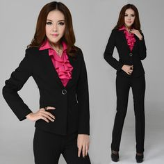 02e33fb8a6 New 2014 Autumn Formal Pant Suits Women Business Sets for Work Outfit  Uniform Yellow Jackets and Pants Sets Free Shipping