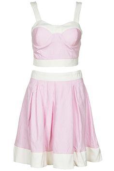 "Dual-tone ""Stripes"" Pink Skirt Set #Romwe"