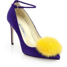 """A playful point-toe pump in vivid suede with a whimsical mink fur pom-pom. Self-covered heel, 3.5"""" (80mm) Suede upper Point toe Adjustable ankle strap Leather …"""