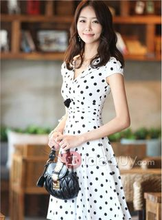 Luxurious Polka Dots Silk Plus Size Day Dress : Tidebuy.com
