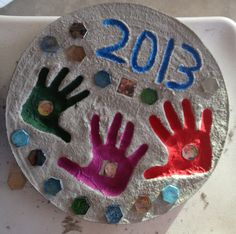 Grandkids Hand prints Stepping stone