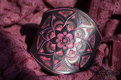 black & pink leather mandala cuff ~livit vivid