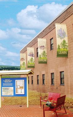 Custom Street banners can also be mounted down the side of your building! Environmental Graphics, Environmental Design, Short Trees, Street Banners, Outdoor Vinyl Banners, Business Signs, Business Cards, Modern Church, Church Interior
