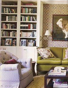 Cosima Von Bulow Marisa Marcantonio Marisa Marcantonio loves Markham Roberts LR with green sofa and print on the walls from Town & Country. Living Spaces, Living Rooms, Family Rooms, Town And Country, Country Decor, Country Living, Green Sofa, Home Libraries, Interior Decorating