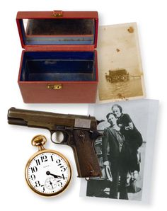 Bonnie & Clyde auction. Bonnie's gun sold for over $200K. The blonde in the pic.
