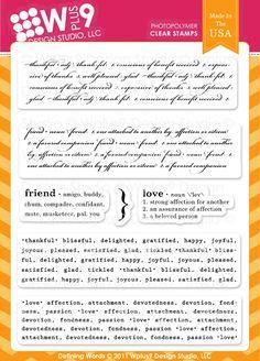 "$19.00 WPlus9 Design ""Defining Words"" stamps"