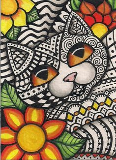 ACEO Zentangle Cat with Flowers Original Art | eBay