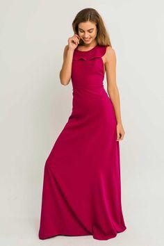 Vestido largo ajustado crepe frambuesa con volantes y espalda abierta para invitada de boda bautizo comunion eventos madrina shoponline
