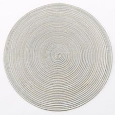 This placemat features a circular striated design and a durable fabric blend. Table Settings, Plates, Placemat, Tableware, Thanksgiving 2013, Fabric, Dish, Design, Style
