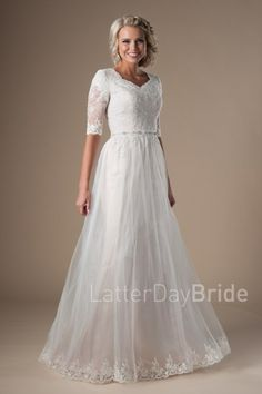 58641aefe8b3 modest lds wedding dresses with lace and illusion sleeves at LatterDayBride  Modest Wedding Dresses, Bridesmaid