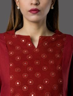 Red Hand-embroidered Ajrakh-printed Cambric Kurta with Asymmetrical Hem Embroidery On Kurtis, Kurti Embroidery Design, Embroidery Neck Designs, Hand Embroidery Dress, Embroidery Suits, Salwar Neck Designs, Kurta Neck Design, Kurta Designs Women, Dress Neck Designs