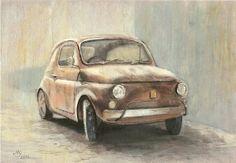 Vintage Car 1950's  Fiat 500  ORIGINAL DRAWING by by MilenaGawlik, $26.00