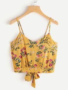 Camisola con estampado floral al azar y espalda con abertura