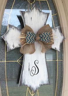 Distressed Rustic Wooden Cross Door Hanger/Monogrammed/Burlap Bow/Easter/Wall Decor/Easter/Home/Office Decor/Birthday Gift/Housewarming Gift - Cuaresma - Painted Wooden Crosses, Wood Crosses, Painted Doors, Decorative Crosses, Mosaic Crosses, Decorative Signs, Cross Door Hangers, Burlap Door Hangers, Initial Door Hanger