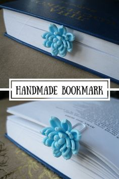 Clip bookmark with realistic blue succulent is a perfect gift for nature lover, book lover, gardener, biologist, teacher, student, mom, grandma etc. Plant is made of air dry polymer clay completely by hand. #bookmark #book #succulent #inspirational