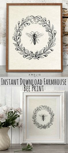 Bee Print, Farmhouse Printable, French Country Decor, Rustic Cottage Wall Art, Vintage Bee Illustration, Printable Download, Wreath **This is an affiliate link.