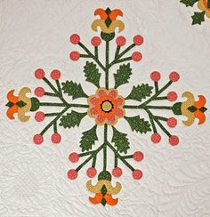 Barbara Brackman's MATERIAL CULTURE: Emporia Quilts: Charlotte Jane Whitehill's Tomato Flower  The detail is just stunning.
