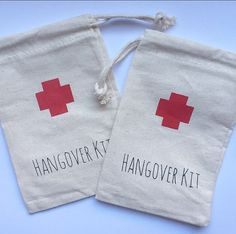Bachelorette Hangover Kit Bags Red Cross NEW by PaperPeonyDesigns