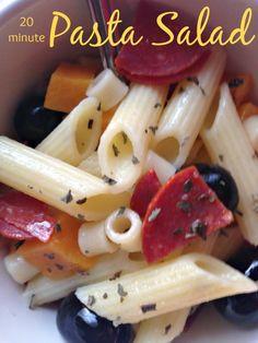Make a delicious and easy twenty minute pasta salad.