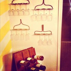 "Our Riddler Wine Rack makes the perfect bar area for small spaces. ""New favorite corner of my house!"" - Kelli Dodd"