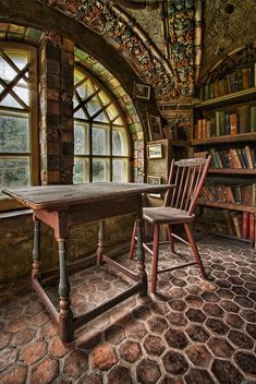 Library loft at Fonthill, a historic Arts and Crafts mansion in Pennsylvania…